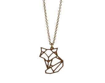 Fox necklace golden short geometric minimalist necklace, design jewelry, minimalist pendant, Emma et moi jewellery