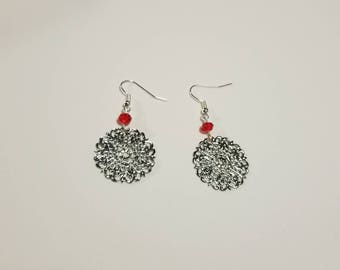 Silver and red burst earrings, Silver statement earrings with a pop of red