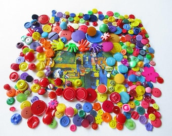 Bulk Buttons, Bright Buttons, Colorful Buttons, Novelty Buttons, Kids Crafts, Mixed Lot Buttons, Mixed Media Supply, Embellishments, Destash