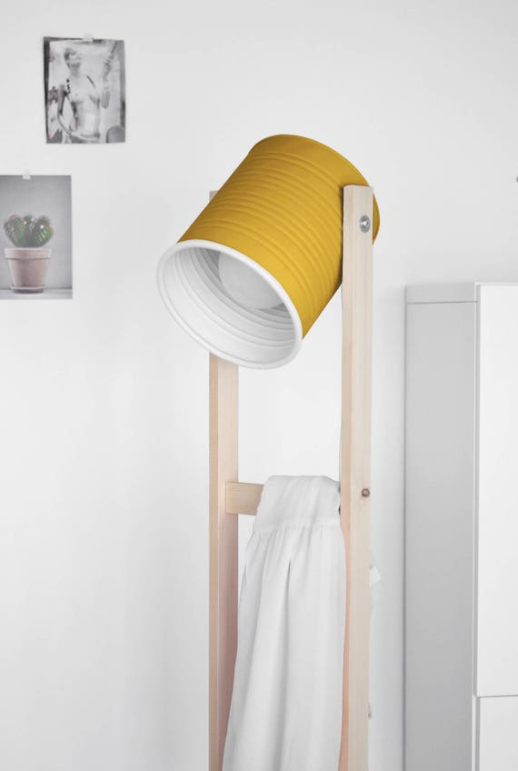 Floor lamp with wheels , mustard color , hand-made and ECO-friendly: recyled from big olives can. LED light bulb included.