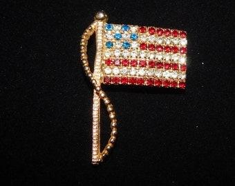 Rafaelian Flag  Brooch Gold Tone Red White and Blue Rhinestone American Flag Pin Brooch Signed Rafaelian