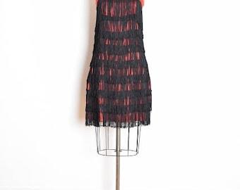 vintage 60s dress, flapper dress, gatsby dress, black fringe dress, 60s party dress, red satin dress, 1960s 60s clothing, 60s fringe dress