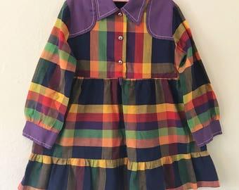 Vintage Plaid Dress. Vintage Purple Plaid Toddler Dress. Vintage Western Toddler Dress. Vintage Youngland Dress.