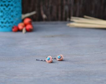 Copper Hair Pins - 1 Pair Turquoise Howlite Hair Pins, Birds Nest Hair Pins