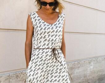 Dress zebra print/ Chic and Elegant Dress / BELO by Sonja Ravbar