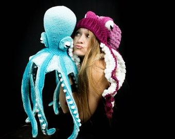 Blue Octopus, Crocheted Octopus, Huge Stuffed Octopus, Octopus Photo Prop, Big Blue Octopus, Kraken, Handmade Octopus, Tentacle Sea Creature