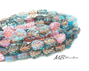 20 Lavender and Aqua Birch Leaf Beads with Copper, Czech Glass Beads, 10x8mm Beads
