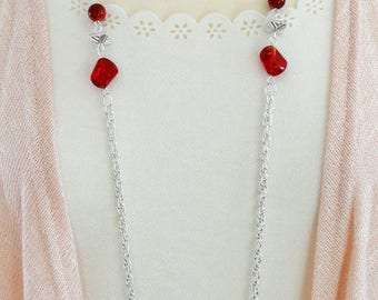 Long Red Beaded Necklace, Long Red Necklace, Long Necklace, Beaded Necklace, Boho Necklace, Flapper Necklace, Vintage Necklace