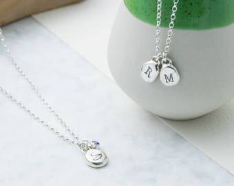 Sterling Silver Pebble Initial Necklace | Handmade Organic Pebble Necklace | Personalised Handstamped Silver Initial Necklace | Gift for Her