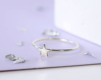 Dainty Sterling Silver Star Ring | Silver Star Stacking Ring | Handmade Star Ring | Celestial Sterling Silver Star Ring | Gifts for her