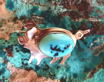 Signed Turquoise Pig Brooch~Sterling Silver 925~Native American Indian Pin~Vintage Navajo Jewelry~Handmade Jewelry signed RB~JewelsandMetals
