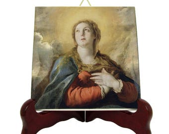 Madonna in Glory - catholic icon on ceramic tile - religious crafts handmade in Italy - Virgin Mary art - Blessed Virgin Mary icon