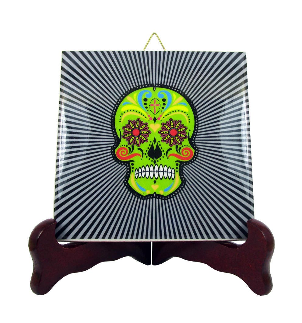 Day of the dead ceramic tile wall art decor dia de los muertos zoom dailygadgetfo Images