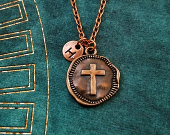 Cross Necklace SMALL Bronze Copper Charm Necklace Coin Necklace Christian Jewelry Wax Seal Medallion Necklace Cross Pendant Necklace Gift