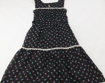 vintage 70s Prairie Dress Floral Lace Belted Tiered Hippie Boho High Waist sz S  Small