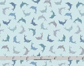Dolphin Fabric, Lewis & Irene Spindrift A257 2 Twirling Dolphins on Blue, Nautical Quilt Fabric, Dolphin Quilt Fabric, Cotton Yardage