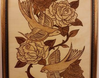 Woodburning - Swallows and Roses