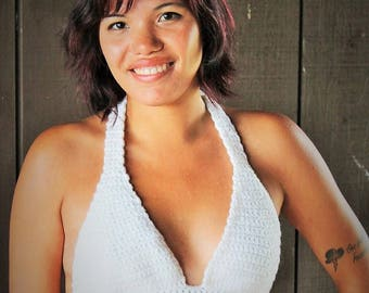 Crochet Back Fasten Halter Top Pattern