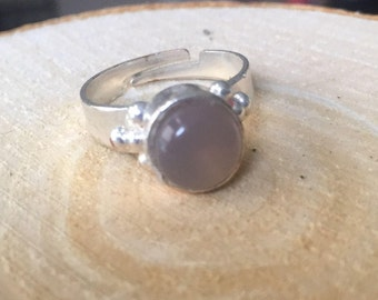 Adjustable silver plated ring with grey agate