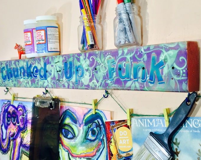 art display /artist artwork hanger reclaimed wood signs /custom personalized business logo name sign with colorful clothespin clips
