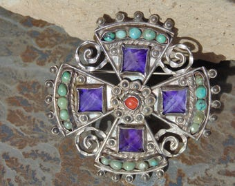 Matl ~ Vintage Matilde Poulat Mexican Sterling Silver, Amethyst, Coral and Turquoise Brooch / Pin c. 1950's