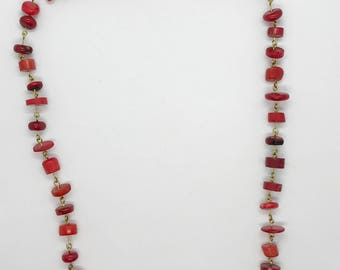 """23"""" red bamboo coral necklace"""