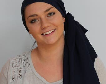 Jessica Pre-Tied Head Scarf, Women's Cancer Headwear, Chemo Scarf, Alopecia Hat, Head Wrap, Head Cover for Hair Loss - Navy Blue