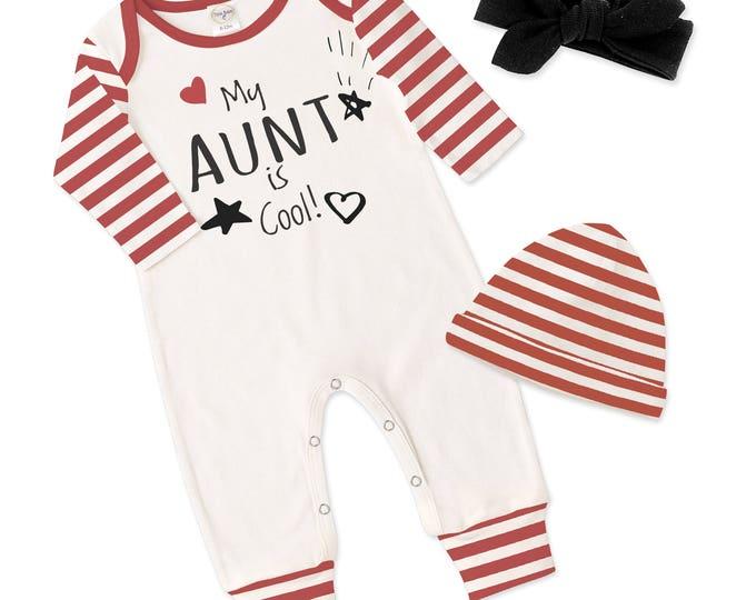 Baby Girl Aunt Romper, Newborn Girl Take Home Romper, Love My Aunt Baby Bodysuit, Red Stripe Baby Romper, TesaBabe