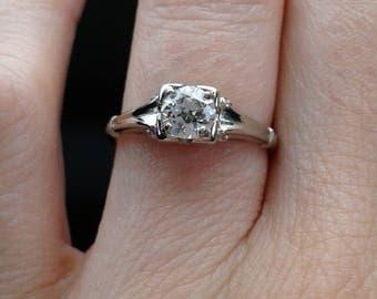 Antique fleur De Lis white gold diamond engagement ring wedding 18K Vintage Art Deco .40ct