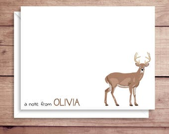 Deer Note Cards - Deer Flat Note Cards - Personalized Deer Stationery - Deer Thank You Notes - Illustrated Note Cards