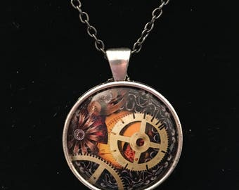 """Necklace - Steam Punk Image under glass dome. (16""""-24"""")"""