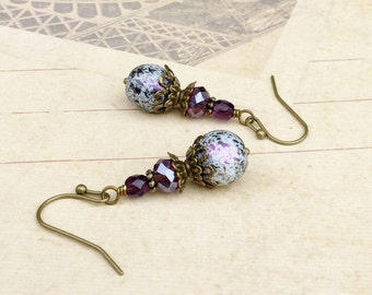 Purple Earrings, Victorian Earrings, Amethyst Earrings, Antique Gold Earrings, Czech Glass Beads, Crystal Earrings, Womens Earrings