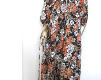 Vintage 1980's Brown Floral Dress* YOUNG EDWARDIAN By Arpeja Size 7 Belted OR Not Eighties Dress