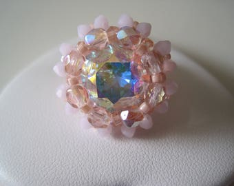 Ring Cabochon pink & white