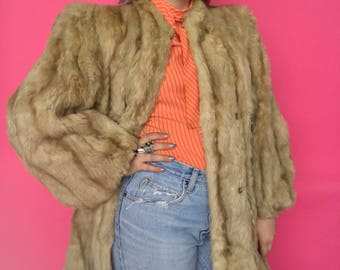 1940s Fur Coat / 40s Blonde Fur Coat / Balloon Sleeves