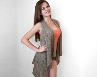 30% OFF Knitted dark beige long vest Cotton vest Spring and summer vest Lace stitch