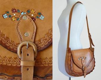 70's Floral Hippie Hand Tooled Tan Brown Leather Painted Flowers Vintage Shoulder Bag Purse / Bohemian Festival