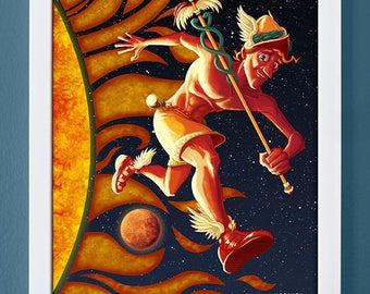 Mercury, art print, planet art, science art, children's art, roman gods, 4X6, 5X7, 8X10
