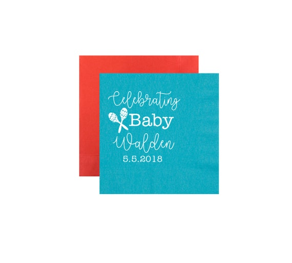 fiesta napkins, fiesta baby shower, let's fiesta napkins, baby shower napkins, gender neutral baby shower, personalized napkin, party napkin