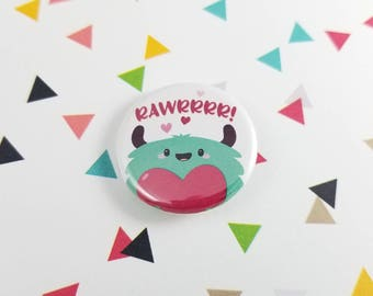 Monster Love Button, Rawr Monster, Gift for Her, Kawaii Pin, Pinback Button, Cute Monster Pin, Backpack Accessory, Bag Decoration