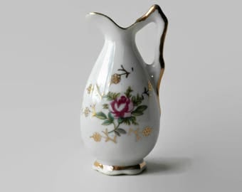 Mini Pitcher Vase, With Pink Rose Pattern Signed World Gifts Souvenir Japan - 3 inches, Small Vase, Miniature Pitcher, Vintage