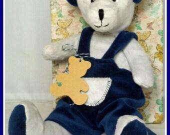Customizable plush bear grey and blue velvet fabrics Navy by a world ' bear