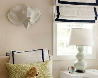 "Relaxed Linen Roman Shade with valance "" White with Black border""with chain mechanism, Windows Treatment, Custom made"