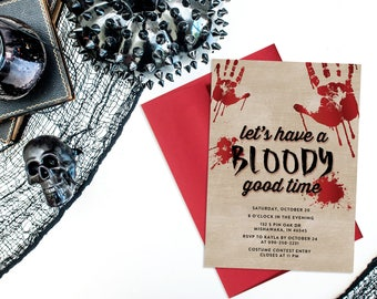 Bloody Good Time Halloween Invitation Printable, Halloween Party Invitation, Costume Party, October, All Hallows Eve