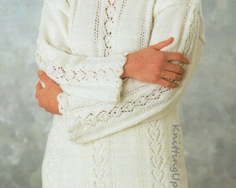 Knitting Pattern PDF Womens Lace Panel Tunic Sweater  30 - 42 Double Knit