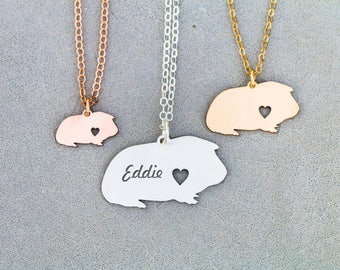 SALE • Guinea Pig Necklace • Sterling Silver Guinea Pig Gift • Personalized Animal Charm •Cute Pet Unique Gift •Exotic Pendant Animal • Cavy