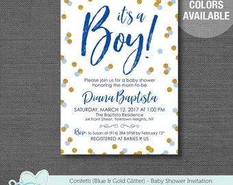 Confetti Blue and Gold Glitter Baby Shower Invitation Printable, It's A Boy, Baby Shower Invite, 31C