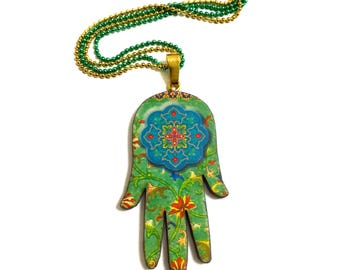 Hamsa Hand Necklace, Evil eye, Good luck, Oriental Ethnic Decor, Vintage Retro style,turquoise, Green, Gold, Amulet, Long necklace