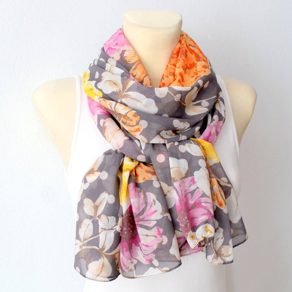 Silk Summer Scarf Floral Silk Scarf Women Fashion Shawl Unique Silk Scarf Boho Scarf Floral Print Scarf Summer Outdoors Summer Party