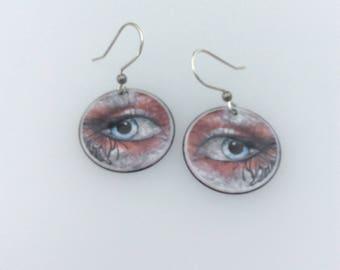 "Unique ""eye"" catching  enamel copper earrings with Artisan sterling silver ear wires"